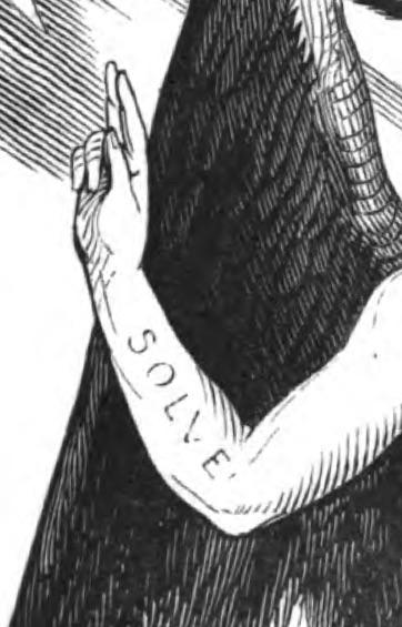 Palabra Solve sobre el brazo derecho